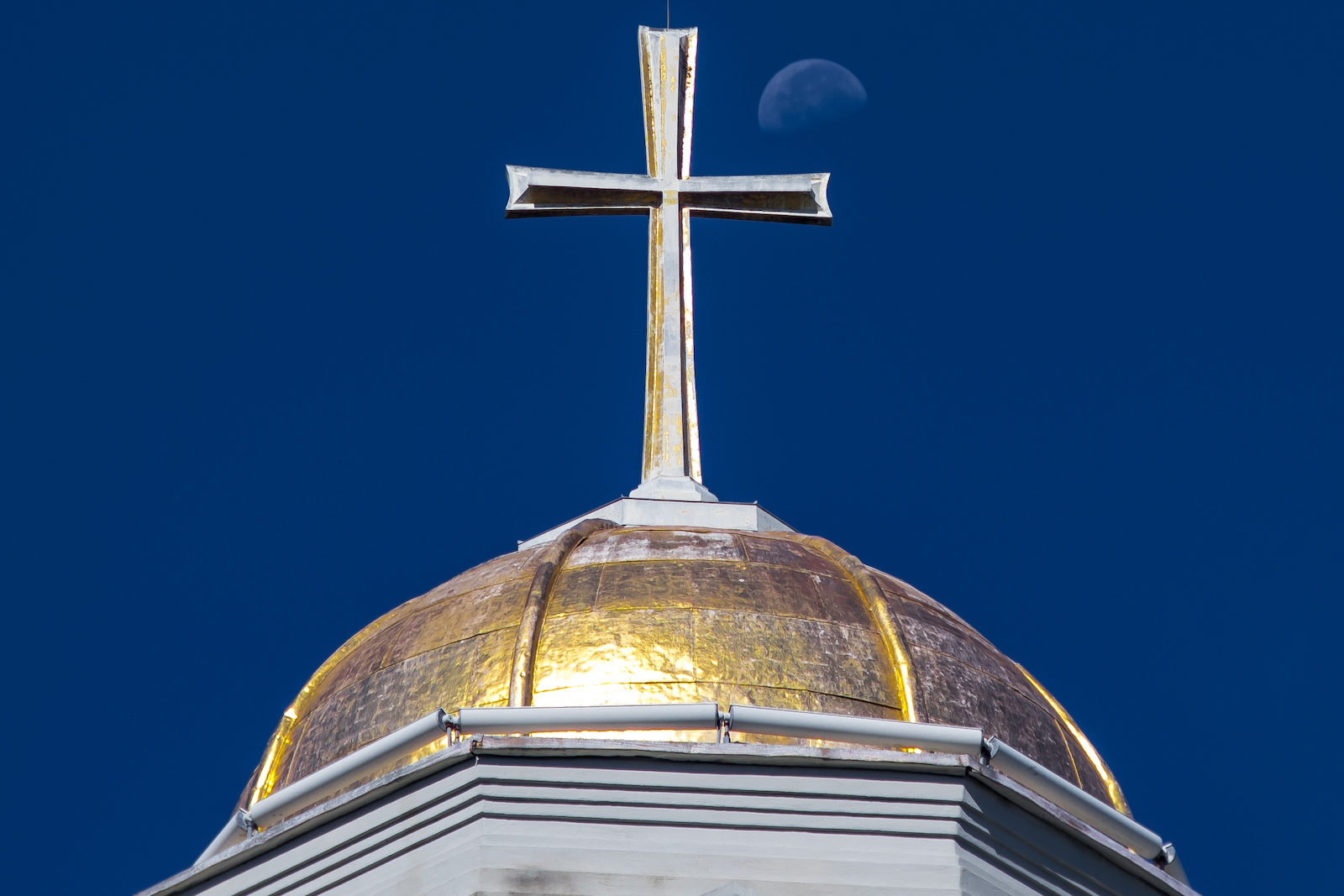 Catherdral of Immaculate Conception Steeple and Moon