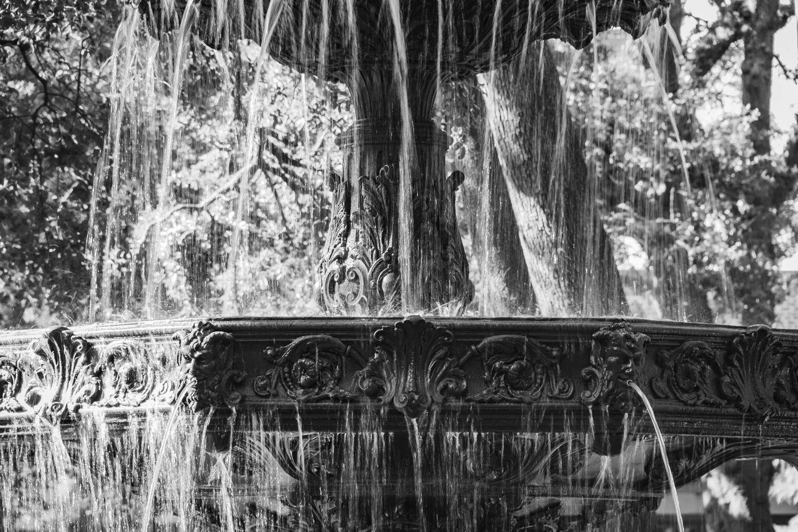 Close up of Bienville Square fountain in Downtown Mobile, AL