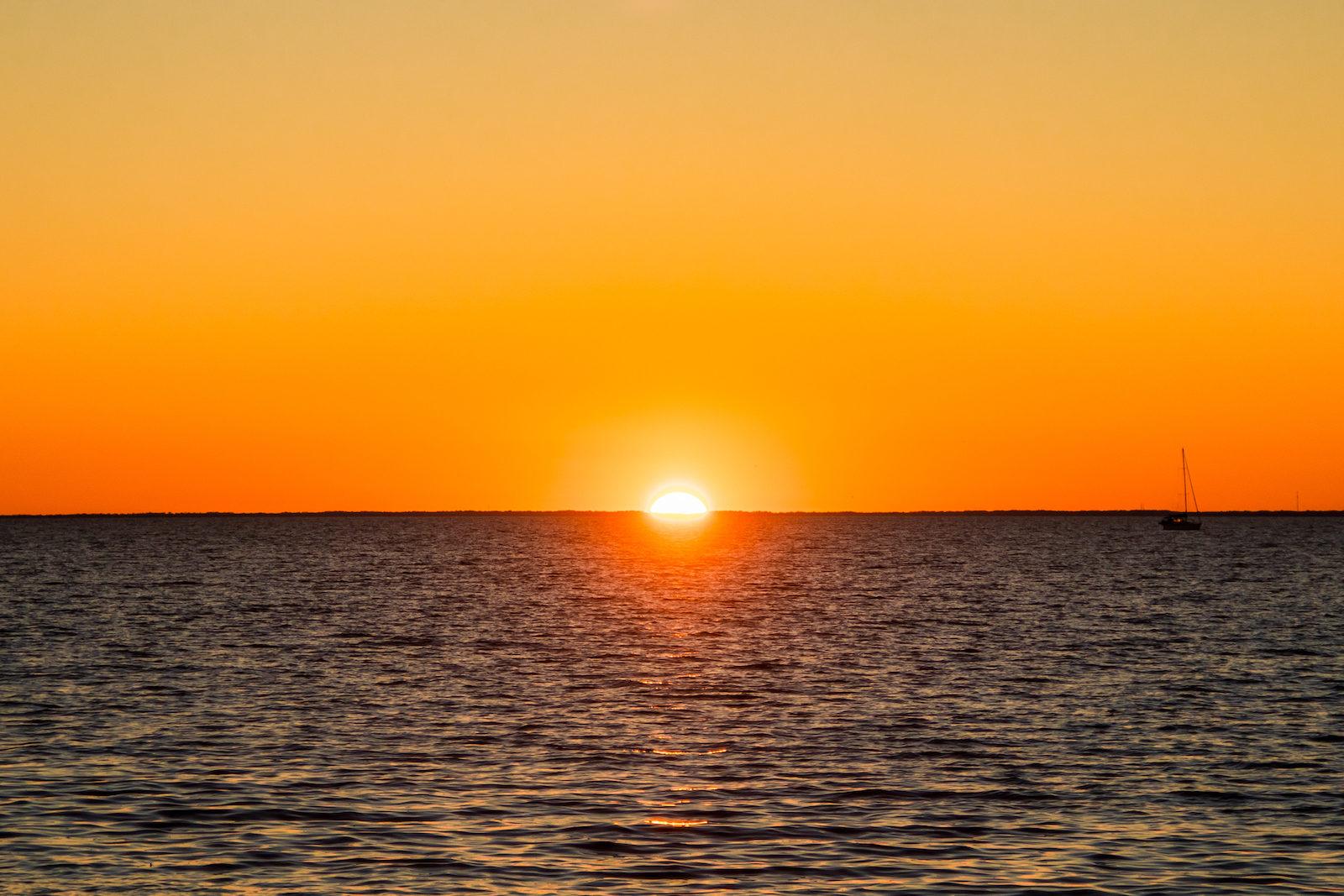 Sunset on the horizon in Fairhope, AL