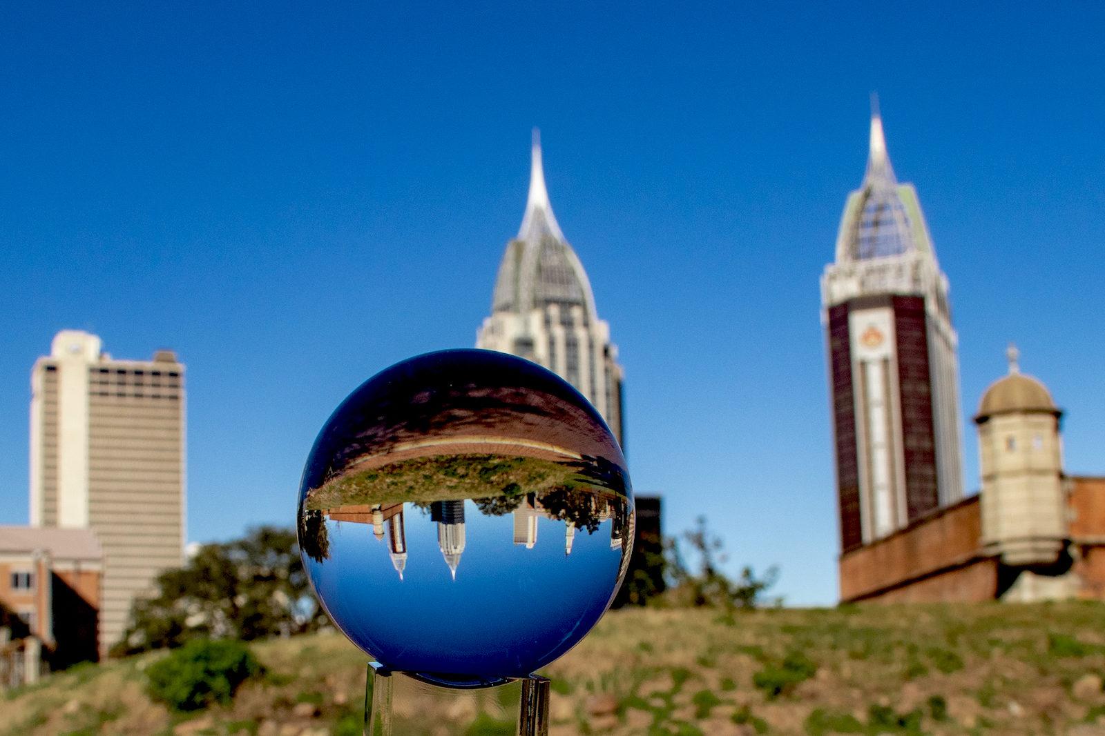 Downtown Mobile, AL through glass ball