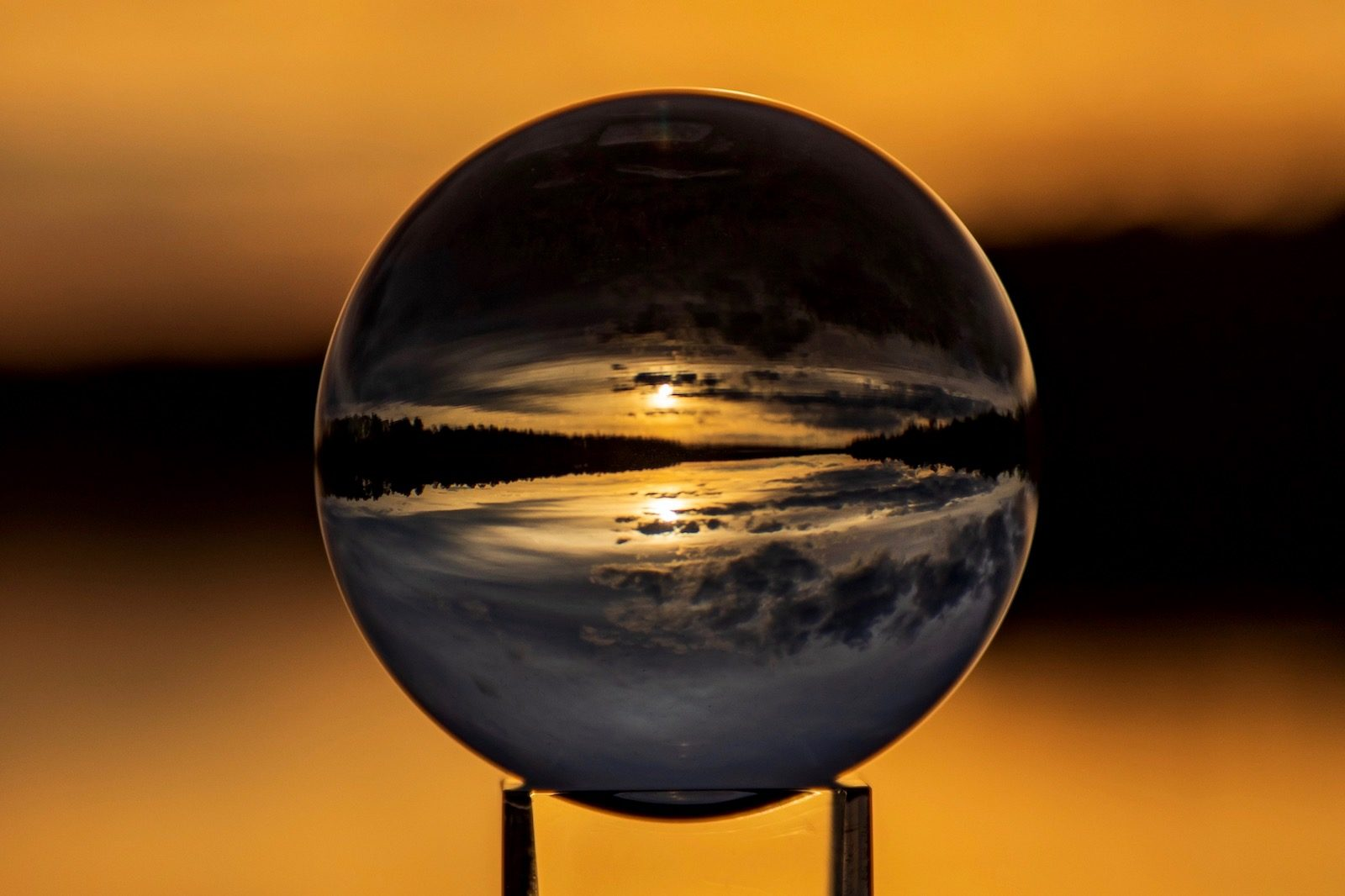 Glass ball sunset on Big Creek Lake