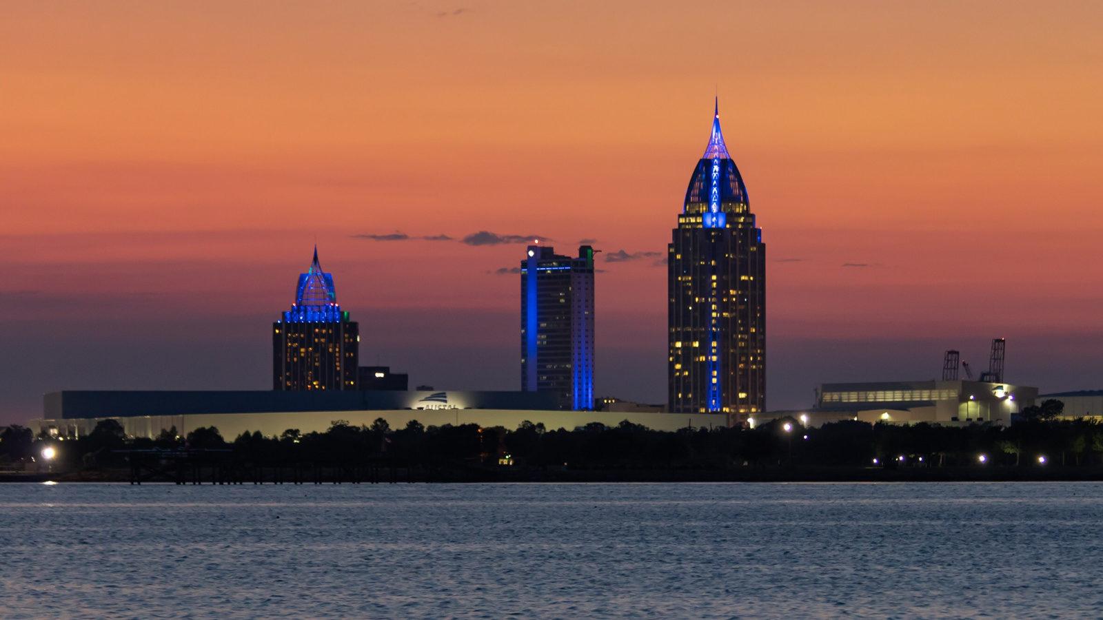 Skyline of Mobile, AL after sunset