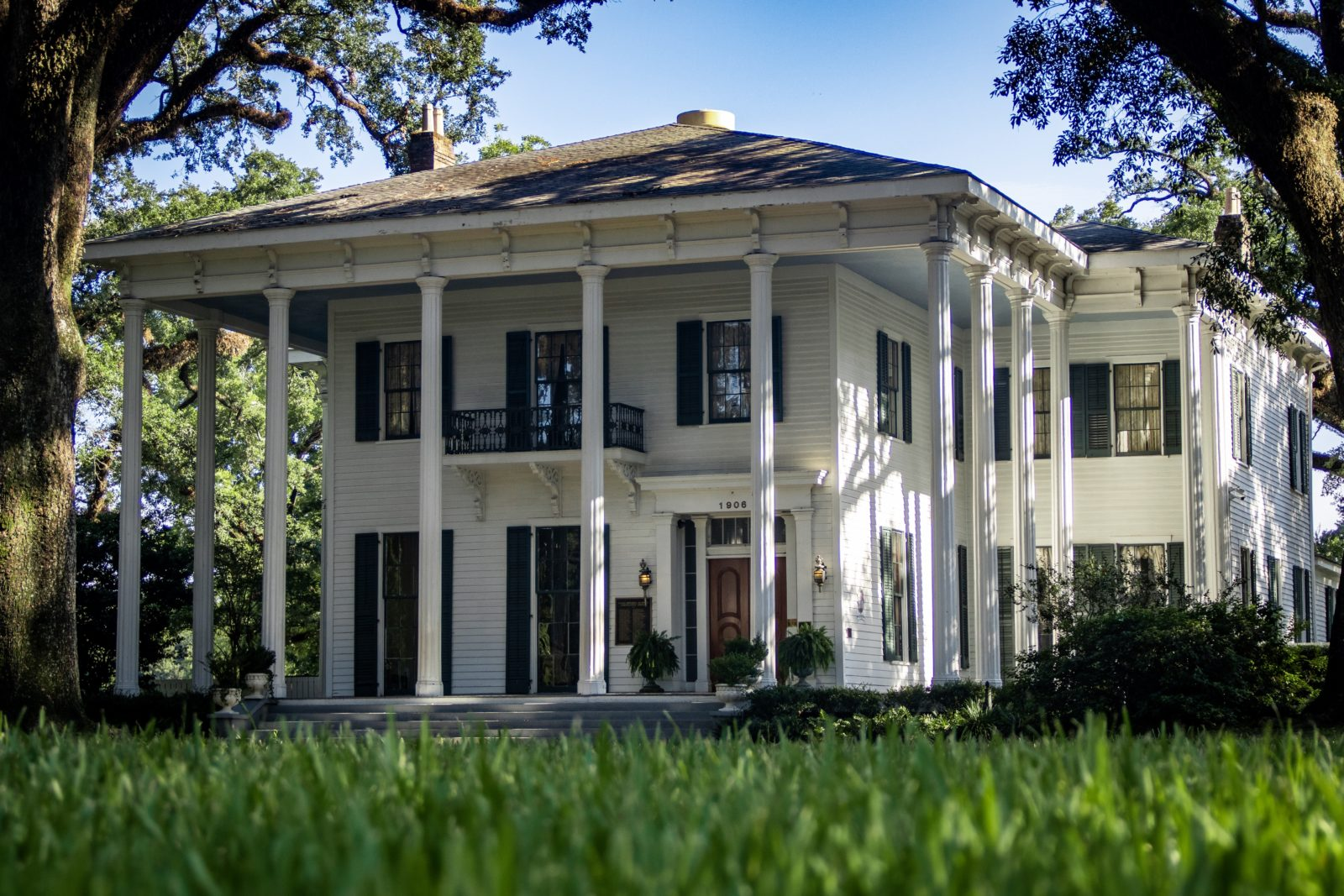 Low angle of Bragg-Mitchell Mansion in Mobile, AL